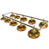 Лампа на десять плафонов «Colorful» (серебристо-золотистая штанга, цветной плафон D44см), интернет-магазин товаров для бильярда Play-billiard.ru