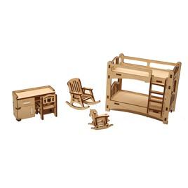 """ХэппиДом Мебель для кукольного домика ХэппиДом """"Детская"""" из дерева"""