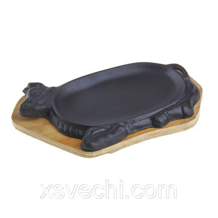 """Сковорода на деревянной подставке """"Корова"""" 27,7х17 см, подставка МИКС"""