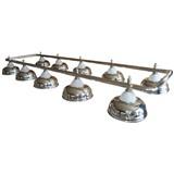 Лампа на десять плафонов «Crown» (серебристая штанга, серебристый плафон D38см), интернет-магазин товаров для бильярда Play-billiard.ru