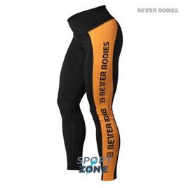 Спортивные лосины Better bodies Side panel tig, черный с оранжевым