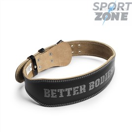 Кожанный пояс Better Bodies Weight Lifting Belt, Black