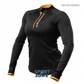 Футболка с длинным рукавом Better bodies Zipped l/s, черный с оранжевым