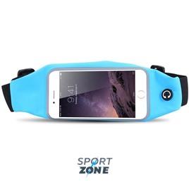 Сумка-чехол спортивная на талию водонепроницаемая, универсальный чехол для смартфонов. Голубая.
