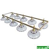 Лампа на десять плафонов «Memory» (серебристо-золотистая штанга, черно-белый плафон D44см), интернет-магазин товаров для бильярда Play-billiard.ru