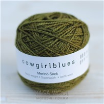 Пряжа Merino Sock solid Олива, 160м/50г, Cowgirlblues, Olive