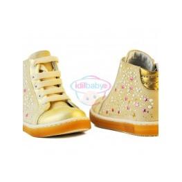 Ботинки Papsin для девочки бежевый металик (шнурок,молния)
