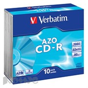 Носители информации Verbatim CD-R 700Mb 52x Slim/10 43342 Crystal