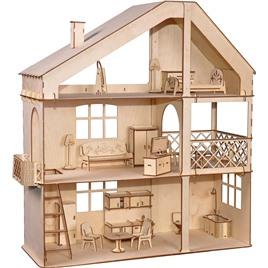 """ХэппиДом Кукольный дом ХэппиДом """"Гранд коттедж с верандой и мебелью"""" из дерева"""