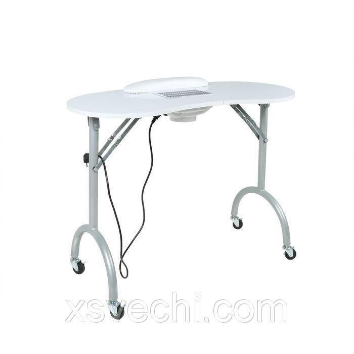 Стол маникюрный, со шнуром, на колесах, цвет белый