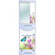 """Комплект мебели фотопечать 55 тумба+мойка+зеркальный шкафчик """"Бабочки на цветке"""" №28"""
