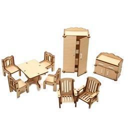 """ХэппиДом Мебель для кукольного домика ХэппиДом  """"Зал"""" из дерева"""