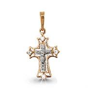 Крест золотой с фианитами № 20656А, золото 585°