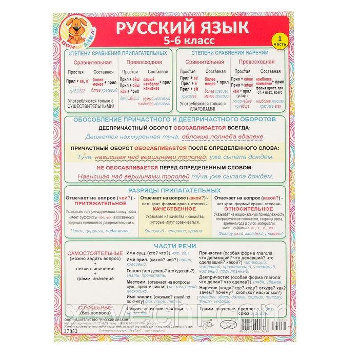 """Шпаргалка """"Русский язык 5-6 класс"""" А5"""