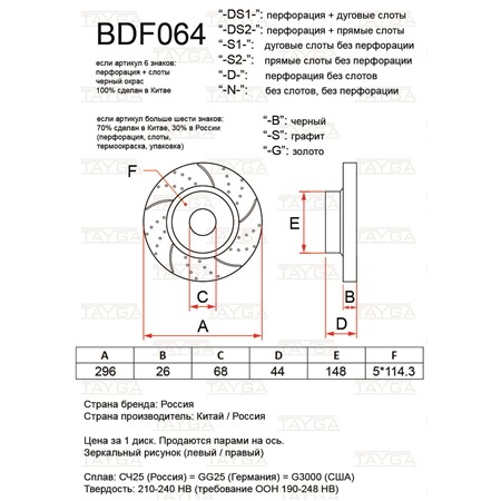 BDF064-D-G - ПЕРЕДНИЕ