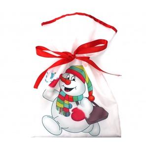 Новогодний мешок для конфет и подарков 20х30 см. Снеговик