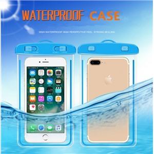 Чехол водонепроницаемый светящийся для мобильных телефонов голубой