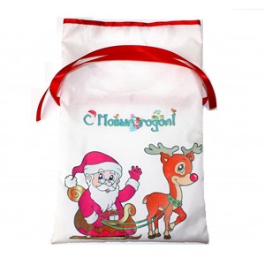 Новогодний мешок для конфет и подарков 20х30 см. Дед Мороз и Олень