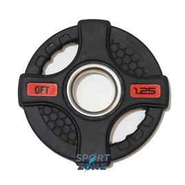 Диск олимпийский обрезиненный черный с двумя хватами 1,25 кг