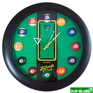 """Часы настенные """"12 шаров"""" D32 см (черные), пластик, интернет-магазин товаров для бильярда Play-billiard.ru. Фото 1"""