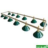 Weekend Лампа на двенадцать плафонов «Evergreen» (серебристо-золотистая штанга, зеленый плафон D35см), интернет-магазин товаров для бильярда Play-billiard.ru