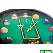 """Часы настенные """"12 шаров"""" D32 см (черные), пластик, интернет-магазин товаров для бильярда Play-billiard.ru. Фото 8"""