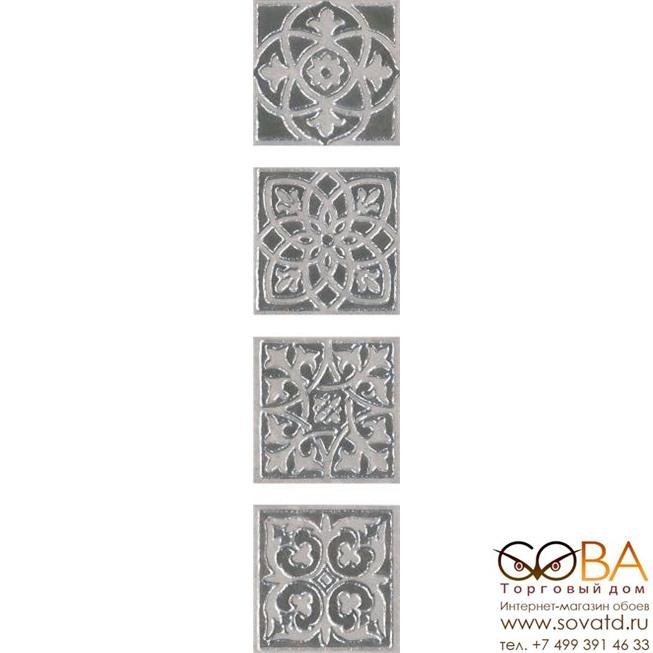 Декор Kerama Marazzi Вставка Парнас серый лаппатированный 9,7х9,7 купить по лучшей цене в интернет магазине стильных обоев Сова ТД. Доставка по Москве, МО и всей России