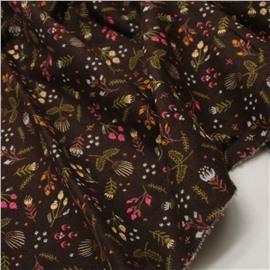 Фланель веточки и цветочки на коричневом (утепленная)