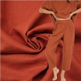 Конопляная ткань терракотово-красного цвета №25