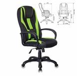 Кресло компьютерное Бюрократ Viking-9/BL+SD экокожа/ткань, черно-зеленое
