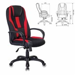 Кресло компьютерное Бюрократ Viking-9/BL+RED экокожа/ткань, черно-красное