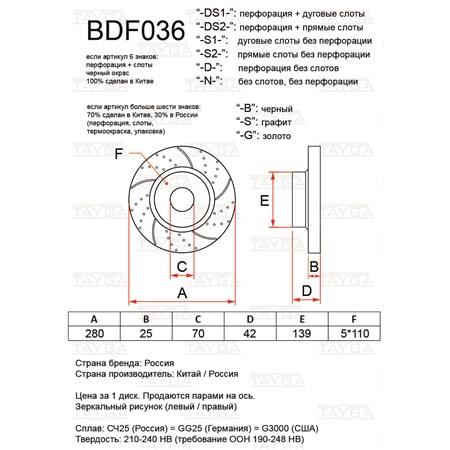 BDF036-D-S - ПЕРЕДНИЕ