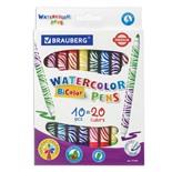 Фломастеры двусторонние утолщенные Brauberg Premium Bi-Color 20 цветов 10 шт 151664